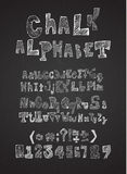 Hand drawn hatched chalk alphabet vector Royalty Free Stock Images