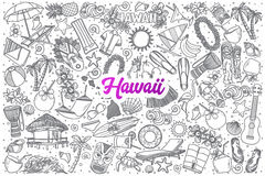 Hand drawn Hawaii doodle set with lettering royalty free illustration