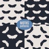 Hand drawn hawk moth vector seamless patterns set. Dead head moths silhouettes patterns. Modern vector backgrounds Stock Photos