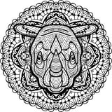 Hand-drawn head of a Rhino on the background circular tribal pattern. Coloring Stock Photo