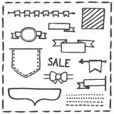 Hand drawn headers or banner vector illustration set Royalty Free Stock Images