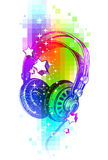 Hand drawn headphones on a colorful background. Colorful design with hand drawn headphones Royalty Free Stock Images