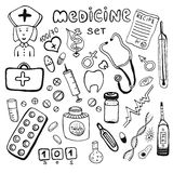 Hand drawn healthcare and medicine doodle icon set Stock Photos