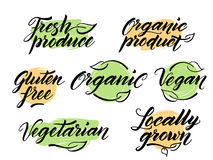 Hand drawn healthy food letterings. Label, logo template Royalty Free Stock Photo