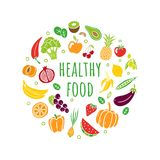 Hand-drawn healthy food in an original organic style. Different fruits and vegetables with editable text. stock illustration