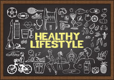 Hand drawn about HEALTHY LIFESTYLE on chalkboard Royalty Free Stock Photos
