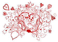 Hand Drawn Heart Background Royalty Free Stock Image