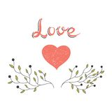Hand drawn heart with blooming branches Royalty Free Stock Photo