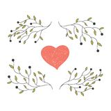 Hand drawn heart with blooming branches Stock Image