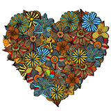 Hand drawn Heart of flower Stock Photos