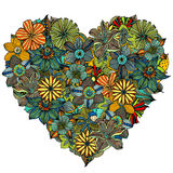 Hand drawn Heart of flower Stock Images