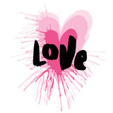 Hand-drawn heart with lettering of love. Vector Royalty Free Stock Image