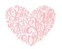 Hand drawn heart love valentine flowers separator. Calligraphy designer elements flora. Vector vintage wedding. Illustration Isolated on white background frame stock illustration