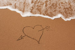 Hand drawn heart on the sand Royalty Free Stock Photography