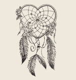 Hand drawn heart shaped dream catcher vector illustration