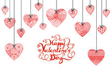 Hand drawn heart and typographic Happy Valentines day  for banner, card and other decorations Royalty Free Stock Photos