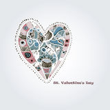 Hand drawn heart. Vector ornate hand drawn heart with text Royalty Free Stock Image