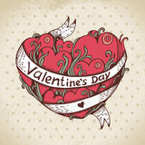 Hand drawn heart and vintage background Royalty Free Stock Images