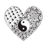 Hand drawn heart with Yin yang  symbol, asian element on white B Royalty Free Stock Photos