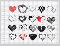 Hand-drawn hearts Stock Photo