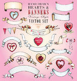 Hand-Drawn Hearts and Banners Vector Set Royalty Free Stock Image