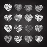Hand drawn hearts on chalkboard Stock Images