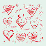 Hand drawn hearts collection Royalty Free Stock Photography