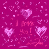 Hand drawn hearts on deep purple background and letters i love y Stock Photography