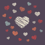 Hand-drawn hearts. Hand-drawn doodle pattern with hearts Royalty Free Stock Image