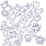 Hand drawn hearts doodles set Royalty Free Stock Photography