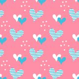 Hand drawn hearts and dots seamless vector pattern. Stock Image
