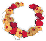 Hand-drawn hearts and flowers. On a white background. Valentines day background Stock Images