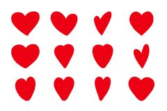 Free Hand Drawn Hearts Icon Set. Vector Illustration Painted Elements Romantic Relationship Heart Shapes. Handdrawn Love Stock Images - 170475714