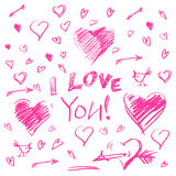 Hand drawn hearts and letters i love you big set on white background Stock Photography