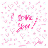 Hand drawn hearts and letters i love you vector illustration.  Royalty Free Stock Images