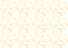 Hand drawn hearts in light yellow. A background composition of hand drawn heart in light yellow Stock Photography