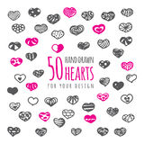 50 hand drawn hearts with ornaments. Heart silhouettes isolated on white Royalty Free Stock Images