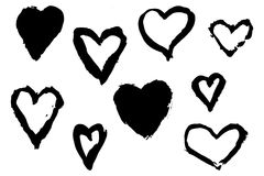 Hand Drawn Hearts with Paint Brush Strokes Stock Photos