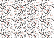 Hand drawn hearts in pink and dark grey. A background composition of hand drawn heart in pink and dark grey Royalty Free Stock Images