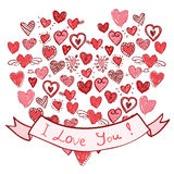 Hand-drawn hearts with ribbon I Love You royalty free stock image