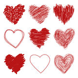 Hand Drawn Hearts Stock Images