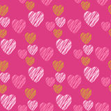 Hand drawn hearts seamless pattern. stock photos