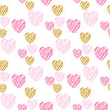 Hand drawn hearts seamless pattern. Royalty Free Stock Photos