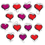 Hand drawn hearts set Royalty Free Stock Photos