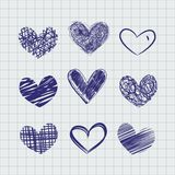 Hand drawn hearts royalty free illustration