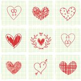 Hand drawn hearts Royalty Free Stock Images
