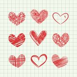 Hand drawn hearts stock illustration