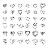 Hand drawn hearts set Stock Photo