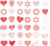 Hand drawn hearts set,vector Stock Image