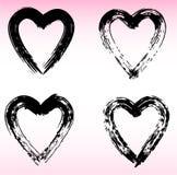 Hand drawn hearts set. Love symbol with dry brush painting, isolated. Hand drawn hearts set. Love symbol with dry brush painting. Grunge vector brush strokes Royalty Free Stock Photo